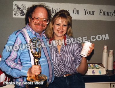 Winnie the Pooh writer Bruce Talkington with Emmy Award, and art coordinator Krista Bunn