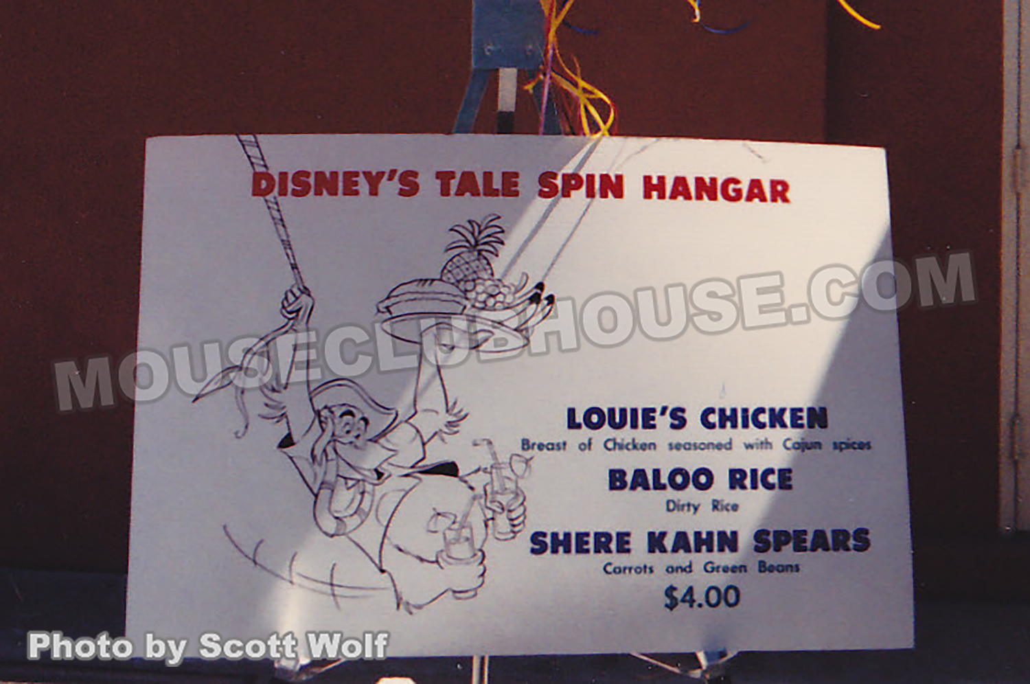 Special Disney Afternoon meals were sold that day