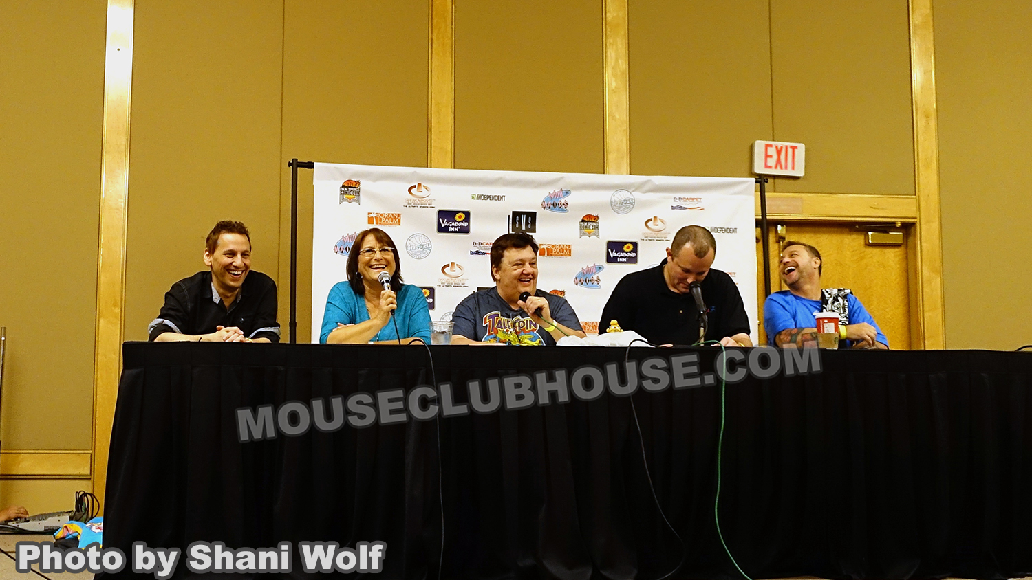 Disney Afternoon panel at Palm Springs Comic Con, with Katie Leigh from the Gummi Bears, Jymn Magon, creator of TaleSpin, moderator Jason Schlierman and Thom Wilcox, voice of Lexington in Gargoyles: The Heroes Awaken
