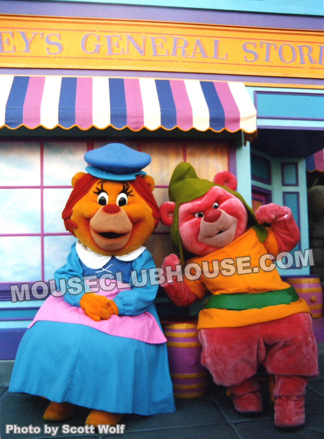 Two Gummi Bears pose in the Afternoon Avenue in Disneyland