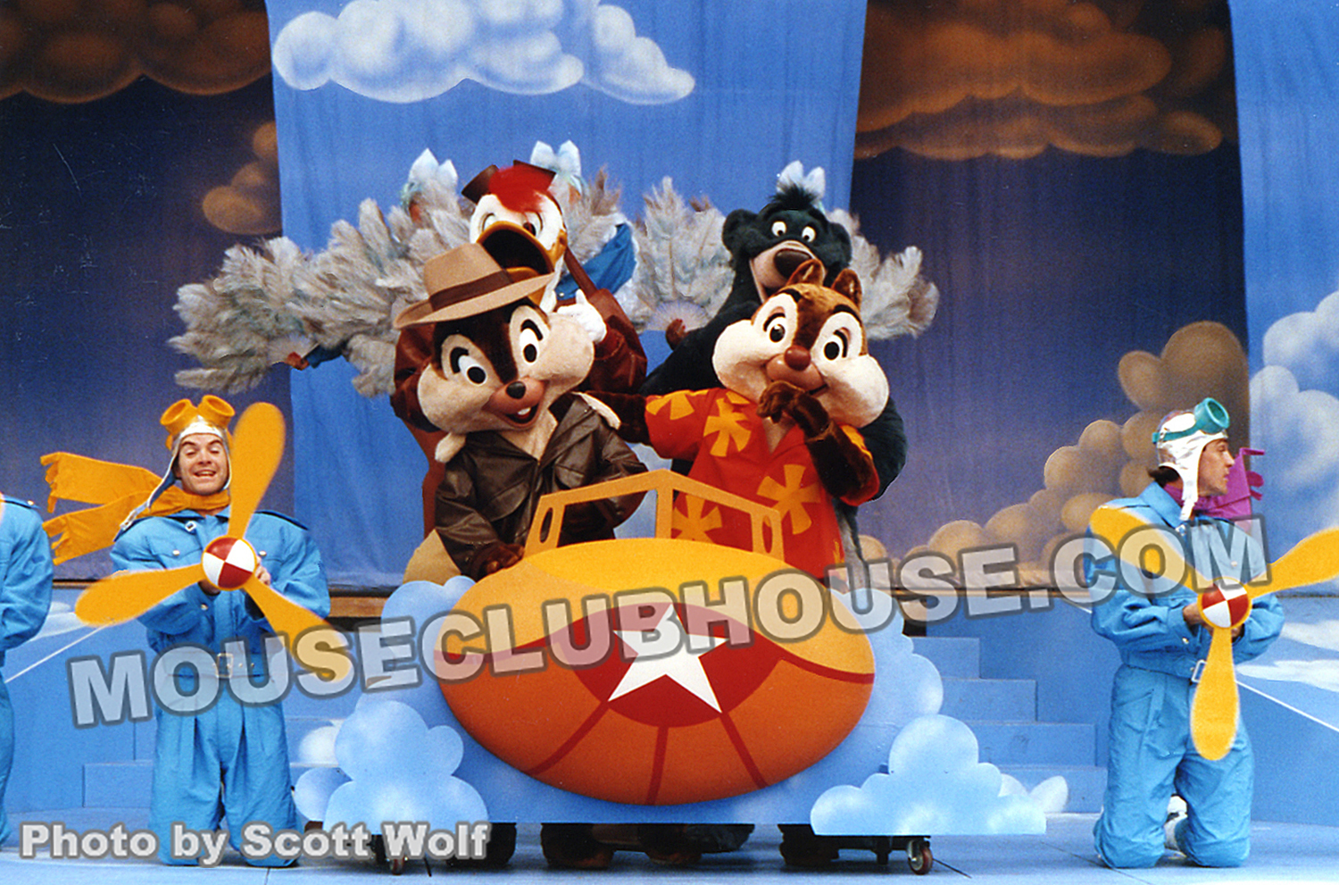 "The ""Friends for Life"" number from the Plane Crazy show at Videopolis. Baloo is missing his TaleSpin hat during this rehearsal performance"