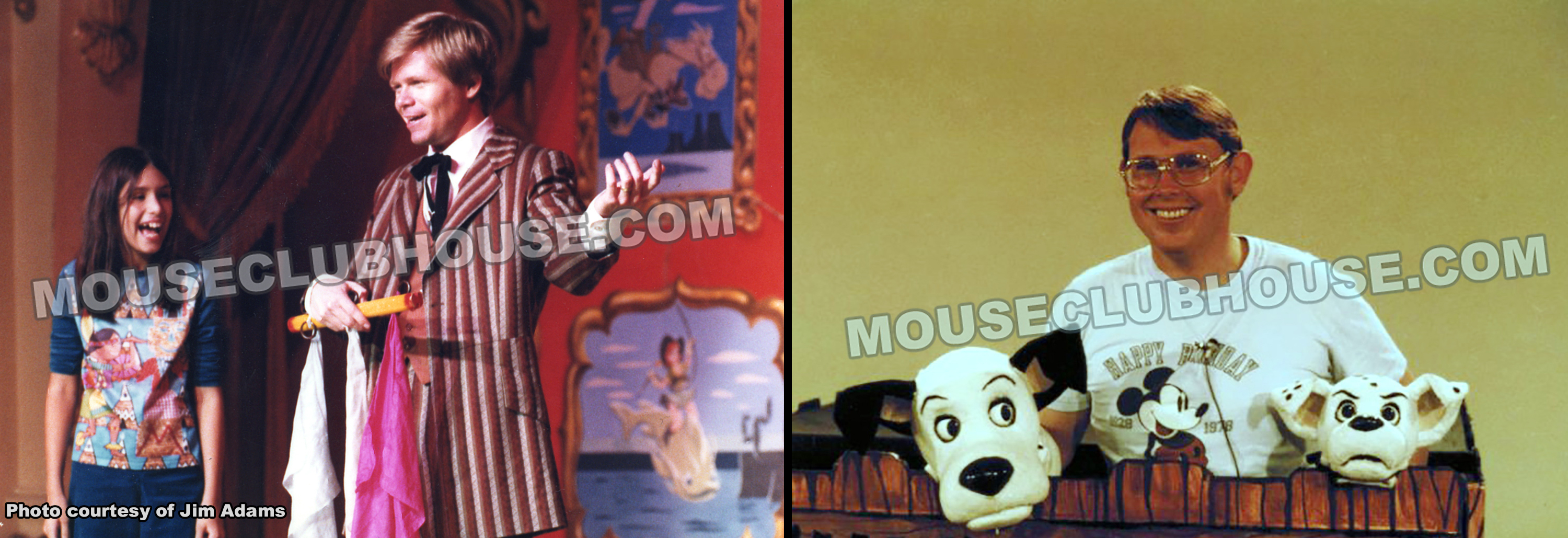 "Jim Adams (left) performs in the Disneyland ""Golden Horseshoe Revue"" and Don Payne (right) takes a break from puppeteering on a television spot to promote ""101 Dalmatians"""