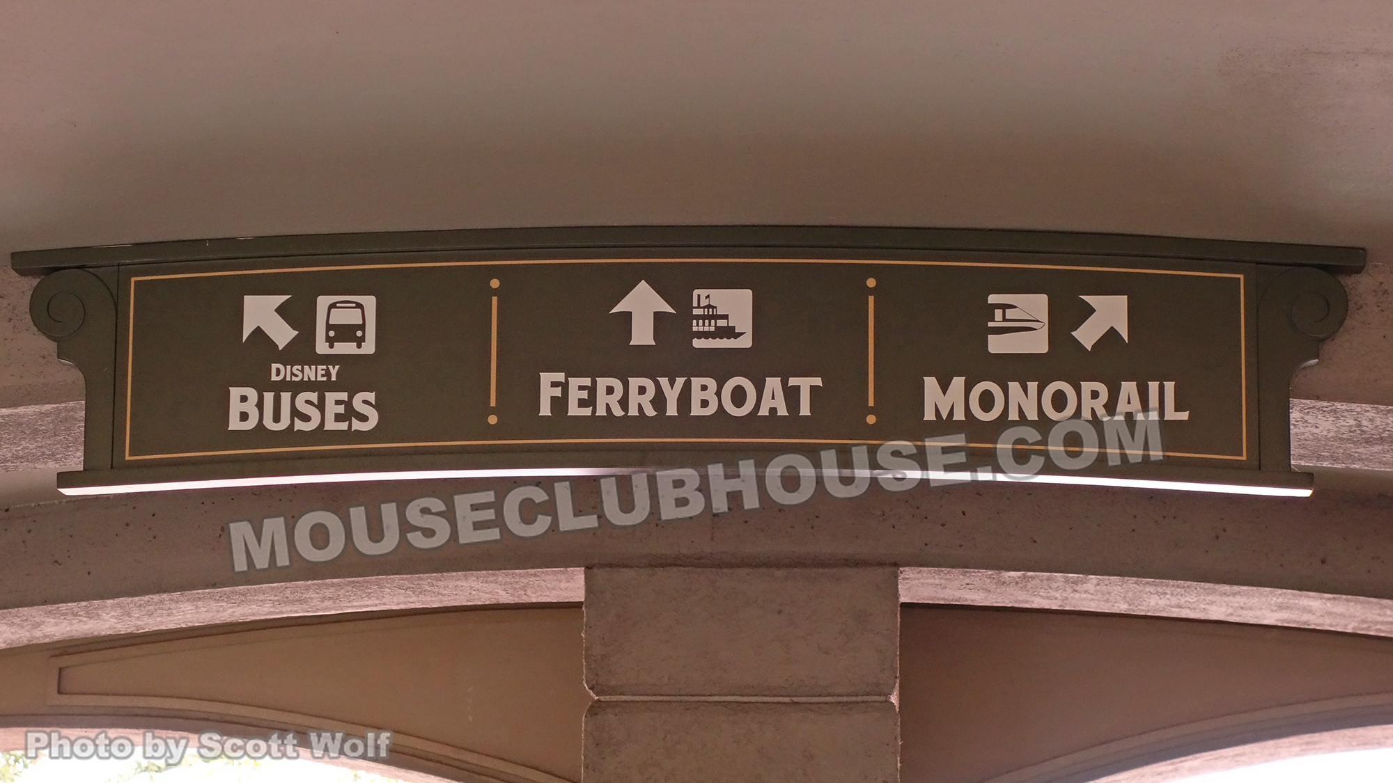 Buses, Ferryboat, Monorail sign in Walt Disney World