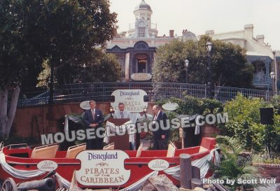 Disneyland executive vice president Norm Doerges, Pirates of the Caribbean contributors X Atencio and Marc Davis