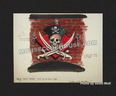 A display of Marc Davis' concept art for Pirates of the Caribbean was presented in the Disney Gallery
