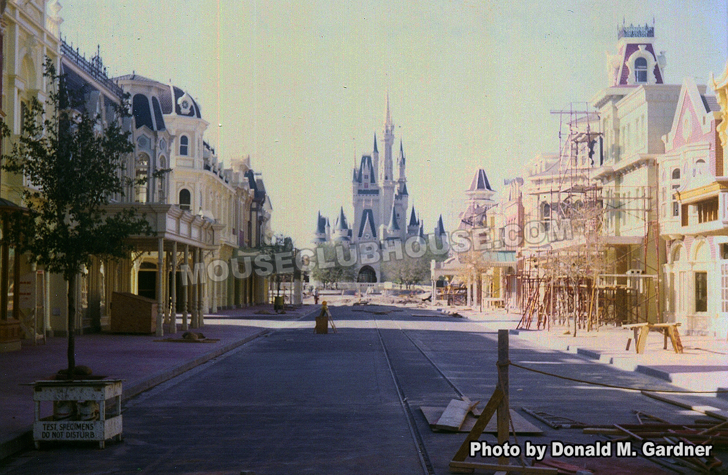 Construction of Main Street in the Magic Kingdom in Walt Disney World, photo taken by Disney Imagineer Don Gardner