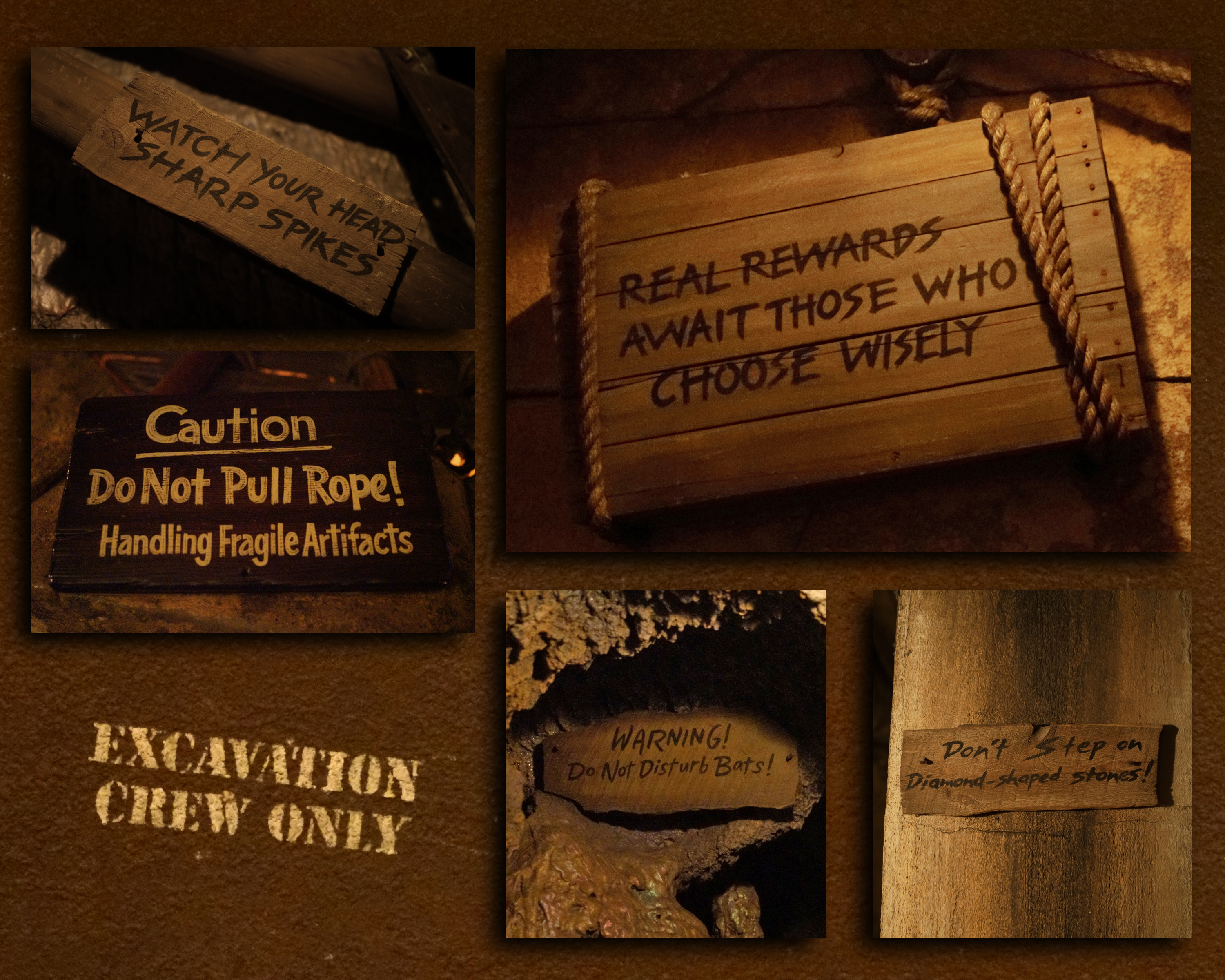 Signs that appear in the queue of the Indiana Jones Adventure in Disneyland