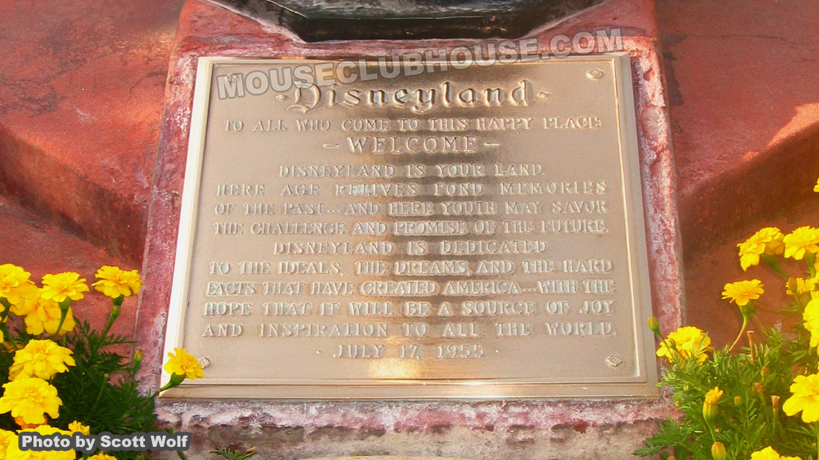Disneyland dedication plaque in Town Square