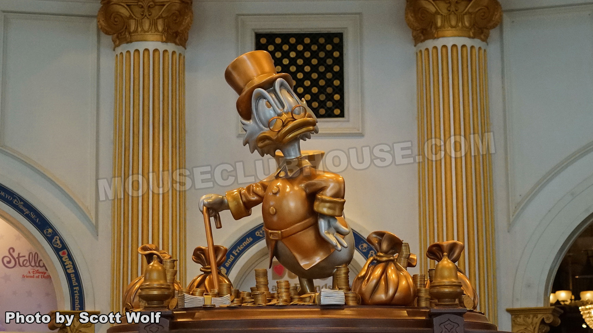 Scrooge McDuck is showcased in the center of the store