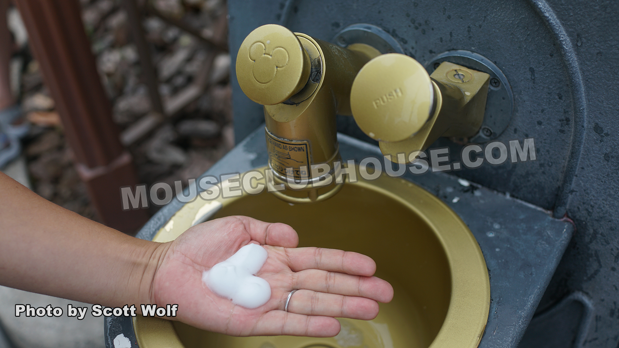 Dispensing Mickey Mouse-shaped soap in Tokyo DisneySea